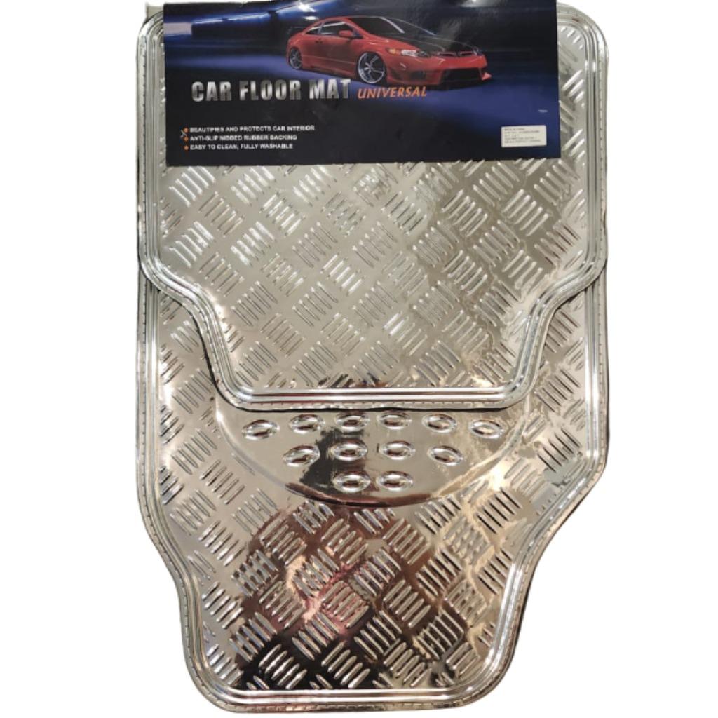 Cubre alfombra simil aluminio 4 pcs. plata