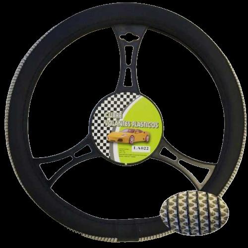 Cubre volante moderno malla blanca detalle negro